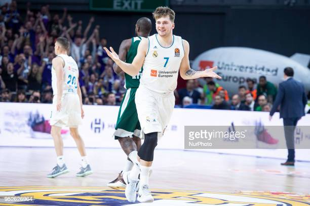 9ad3cad3158 Luka Doncic of Real Madrid in action during the Turkish Airlines Euroleague  Play Offs Game 4. Real Madrid v Panathinaikos Superfoods Athens ...