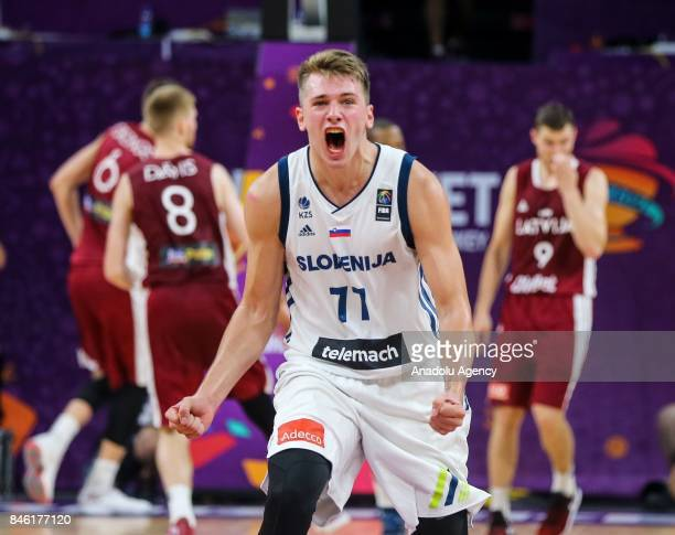 Luka Doncic of Slovenia celebrates after the FIBA Eurobasket 2017 quarter final basketball match between Slovenia and Latvia at the Sinan Erdem Sport...