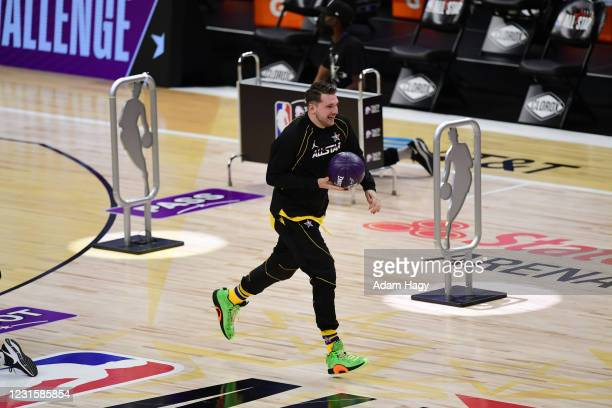 Luka Doncic of Team LeBron dribbles the ball during the Taco Bell Skills Challenge as part of 2021 NBA All Star Weekend on March 7, 2021 at State...