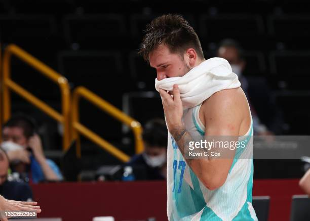 Luka Doncic of Team Slovenia reacst in disappointment after a loss to Australia in the Men's Basketball Bronze medal game on day fifteen of the Tokyo...