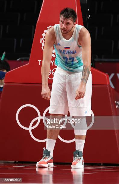 Luka Doncic of Team Slovenia reacts in disappointment during the second half of the Men's Basketball Bronze medal game between Team Slovenia and Team...