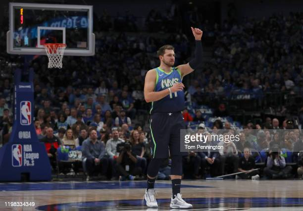 Luka Doncic of the Dallas Maverick reacts against the Denver Nuggets in the first period at American Airlines Center on January 08 2020 in Dallas...