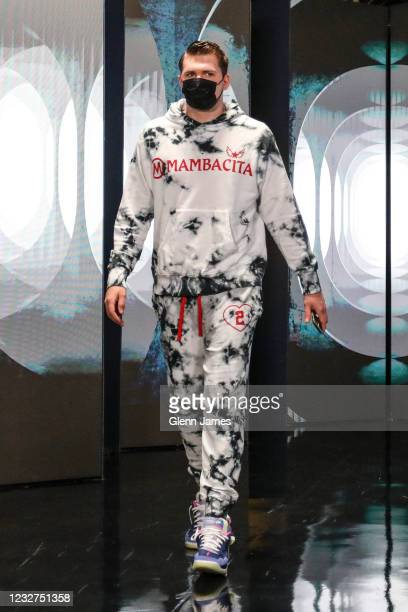 Luka Doncic of the Dallas Mavericks arrives to the arena before the game against the Cleveland Cavaliers on May 7, 2021 at the American Airlines...