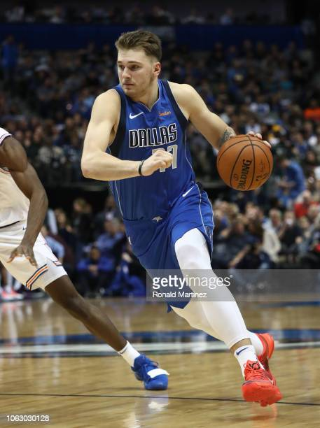 Luka Doncic of the Dallas Mavericks at American Airlines Center on November 02 2018 in Dallas Texas NOTE TO USER User expressly acknowledges and...