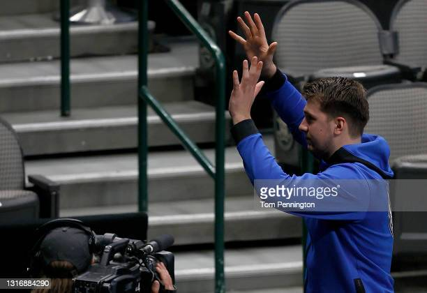Luka Doncic of the Dallas Mavericks celebrates after the Dallas Mavericks beat the Cleveland Cavaliers 110-90 at American Airlines Center on May 07,...