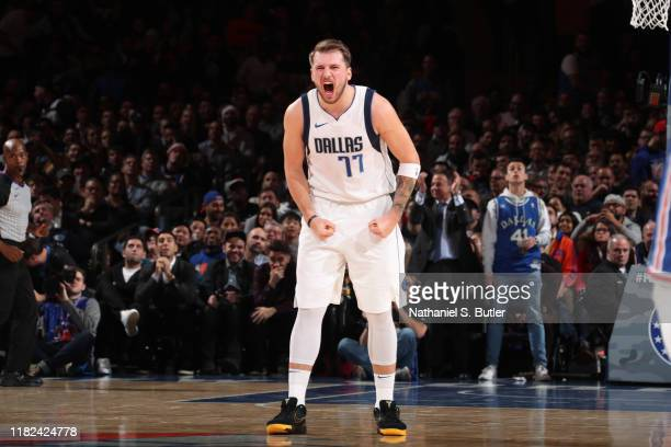 Luka Doncic of the Dallas Mavericks celebrates during a game against the New York Knicks on November 14 2019 at Madison Square Garden in New York...