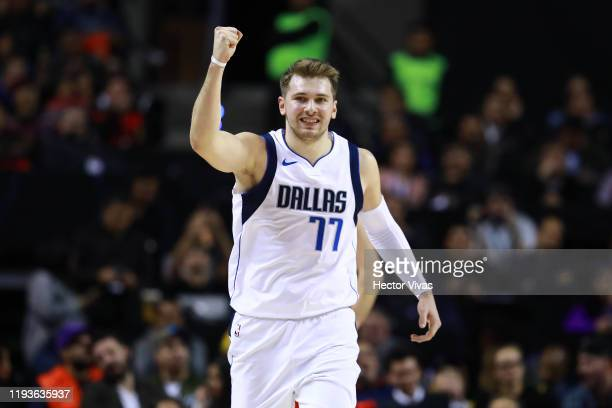 Luka Doncic of the Dallas Mavericks celebrates during a game between Dallas Mavericks and Detroit Pistons at Arena Ciudad de Mexico on December 12...