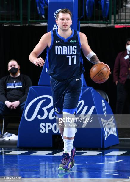 Luka Doncic of the Dallas Mavericks dribbles during the game against the Cleveland Cavaliers on May 7, 2021 at the American Airlines Center in...