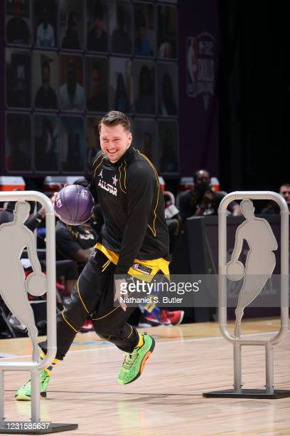 Luka Doncic of the Dallas Mavericks dribbles during the Taco Bell Skills Challenge as part of 2021 NBA All Star Weekend on March 7, 2021 at State...