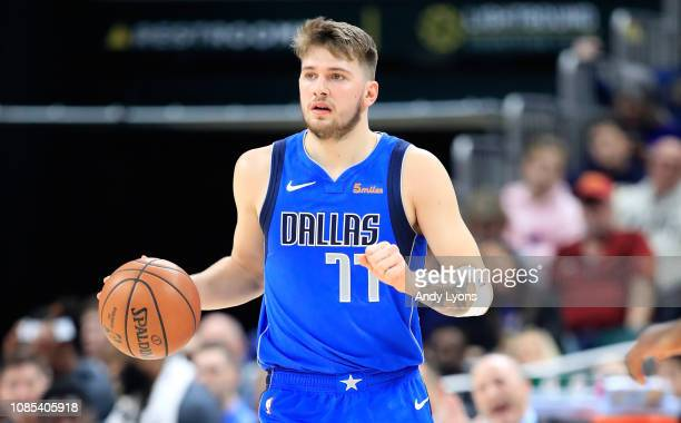 Luka Doncic of the Dallas Mavericks dribbles the ball against the Indiana Pacers at Bankers Life Fieldhouse on January 19 2019 in Indianapolis...