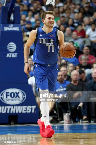 Luka Doncic of the Dallas Mavericks dribbles the ball downcourt against the Sacramento Kings at American Airlines Center on March 26 2019 in Dallas...