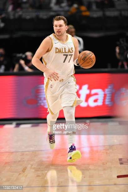 Luka Doncic of the Dallas Mavericks dribbles the ball during the game against the Brooklyn Nets on May 6, 2021 at the American Airlines Center in...