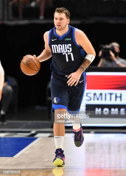 Luka Doncic of the Dallas Mavericks drives to the basket against the Cleveland Cavaliers on May 7, 2021 at the American Airlines Center in Dallas,...
