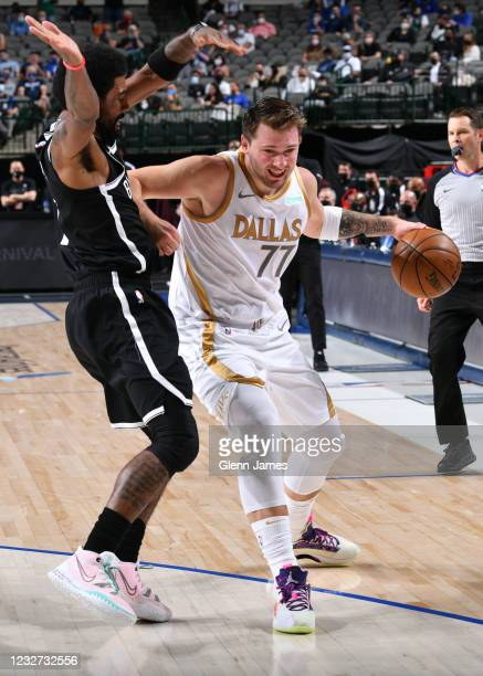 Luka Doncic of the Dallas Mavericks drives to the basket during the game against the Brooklyn Nets on May 6, 2021 at the American Airlines Center in...