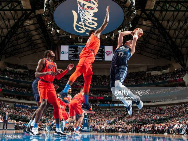 Luka Doncic of the Dallas Mavericks goes up for shot against the Oklahoma City Thunder on December 30 2018 at the American Airlines Center in Dallas...