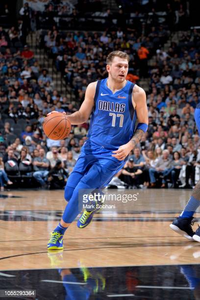 Luka Doncic of the Dallas Mavericks handles the ball against the San Antonio Spurs on October 29 2018 at the ATT Center in San Antonio Texas NOTE TO...
