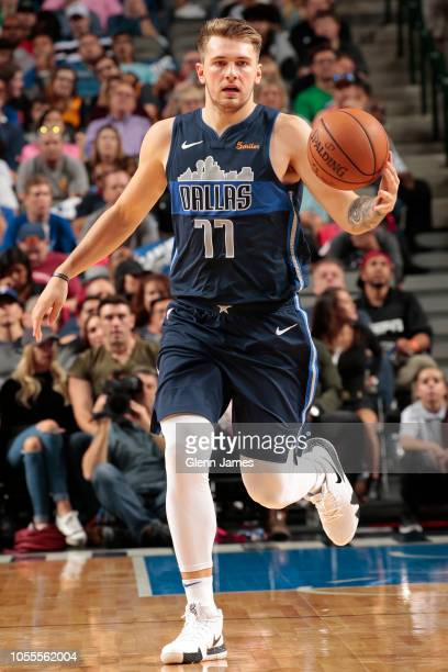 Luka Doncic of the Dallas Mavericks handles the ball against the Utah Jazz during a game on October 28 2018 at American Airlines Center in Dallas...