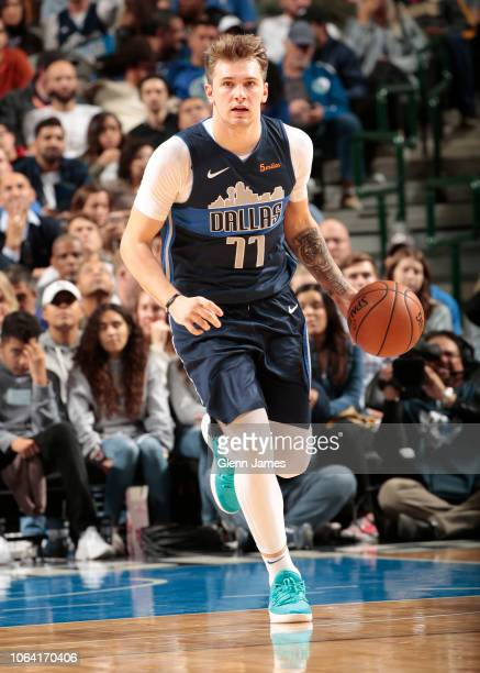 Luka Doncic of the Dallas Mavericks handles the ball during the game against the Brooklyn Nets on November 21 2018 at the American Airlines Center in...