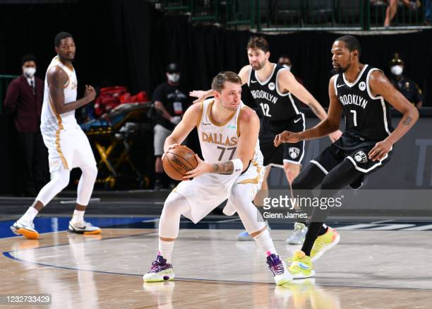 Luka Doncic of the Dallas Mavericks handles the ball during the game against the Brooklyn Nets on May 6, 2021 at the American Airlines Center in...