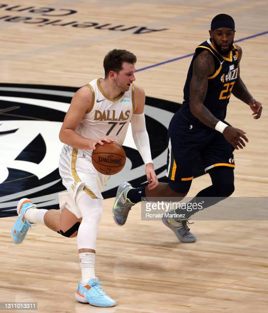 Luka Doncic of the Dallas Mavericks in the first quarter at American Airlines Center on April 05, 2021 in Dallas, Texas. NOTE TO USER: User expressly...
