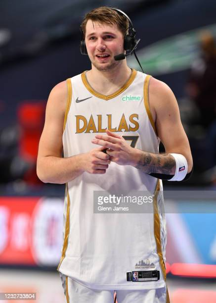 Luka Doncic of the Dallas Mavericks is interviewed after the game against the Brooklyn Nets on May 6, 2021 at the American Airlines Center in Dallas,...