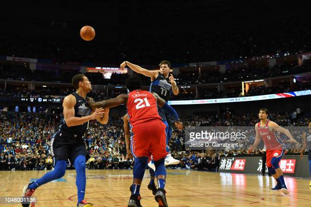 Luka Doncic of the Dallas Mavericks passes against the Philadelphia 76ers as part of the 2018 China Games on October 5 2018 at the MercedesBenz Arena...