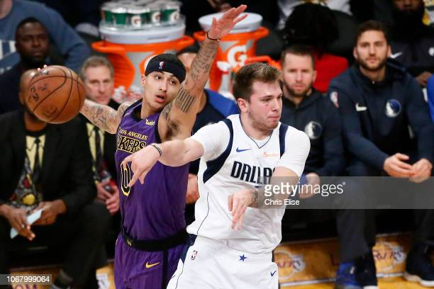 Luka Doncic of the Dallas Mavericks passes the ball against the Los Angeles Lakers on November 30 2018 at the Staples Center in Los Angeles...
