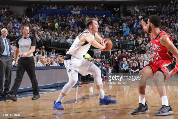 Luka Doncic of the Dallas Mavericks passes the ball against the New Orleans Pelicans on March 18, 2019 at the American Airlines Center in Dallas,...