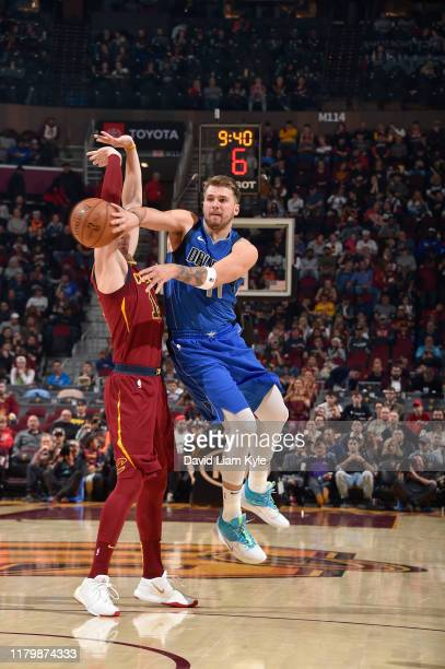 Luka Doncic of the Dallas Mavericks passes the ball against the Cleveland Cavaliers on November 3, 2019 at Rocket Mortgage FieldHouse in Cleveland,...
