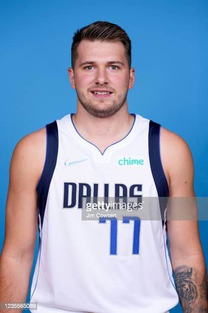 Luka Doncic of the Dallas Mavericks poses for a head shot during NBA media Day on September 28, 2021 at American Airlines Center in Dallas, Texas....
