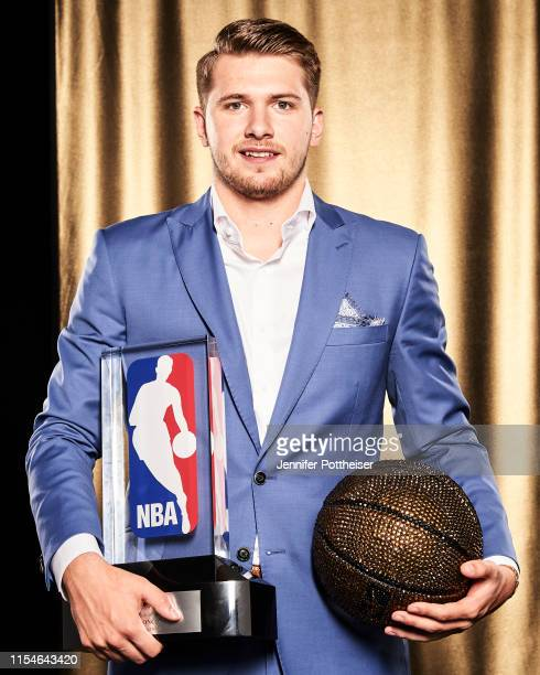 Luka Doncic of the Dallas Mavericks poses for a portrait after winning the NBA Rookie of the Year Award during the 2019 NBA Awards Show at the Barker...