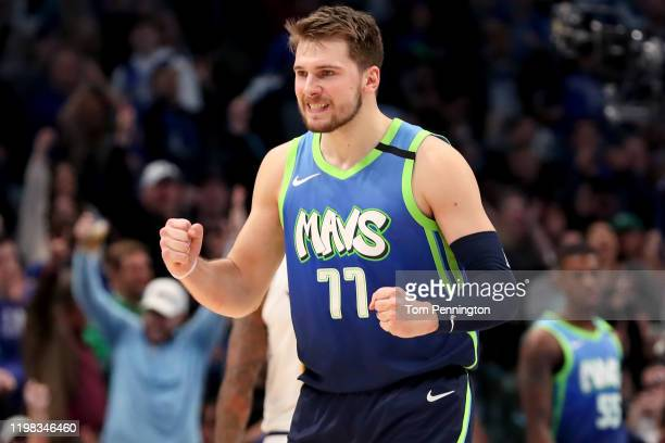 Luka Doncic of the Dallas Mavericks reacts against the Denver Nuggets in the second half at American Airlines Center on January 08 2020 in Dallas...