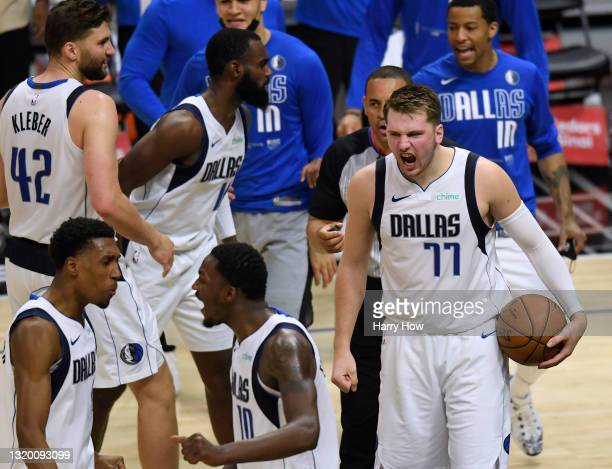 Luka Doncic of the Dallas Mavericks reacts at the end of the game in a 127-121 Mavericks win over the LA Clippers in game two of the Western...