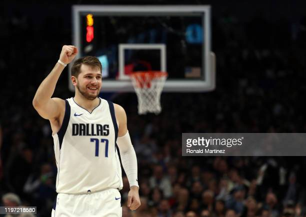 Luka Doncic of the Dallas Mavericks reacts during play against the Brooklyn Nets at American Airlines Center on January 02 2020 in Dallas Texas NOTE...