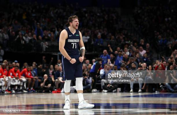 Luka Doncic of the Dallas Mavericks reacts during play against the Sacramento Kings in the second half at American Airlines Center on February 12...