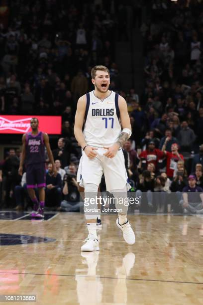 Luka Doncic of the Dallas Mavericks reacts during the game against the Minnesota Timberwolves on January 11 2019 at Target Center in Minneapolis...