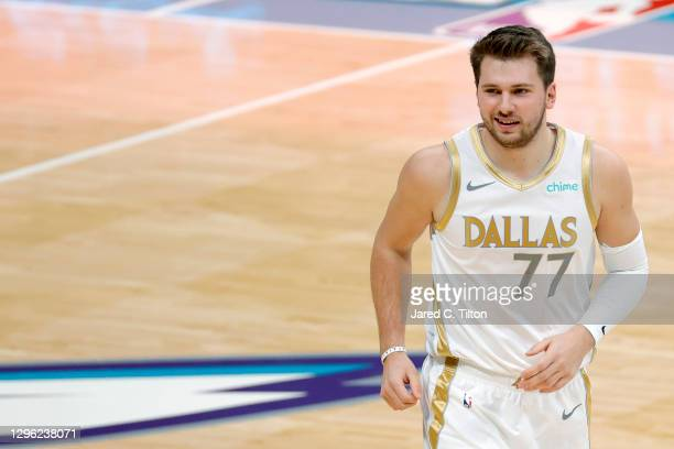 Luka Doncic of the Dallas Mavericks reacts following a play during the first quarter of their game against the Charlotte Hornets at Spectrum Center...