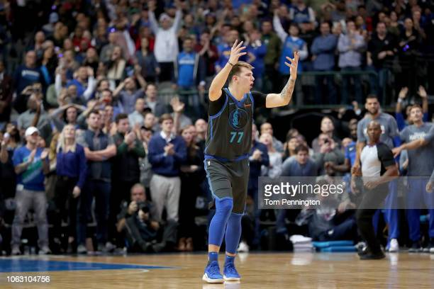 Luka Doncic of the Dallas Mavericks reacts in the final seconds of the game as the Dallas Mavericks beat the Golden State Warriors 112109 at American...