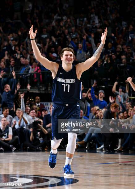 Luka Doncic of the Dallas Mavericks reacts to a play against the Minnesota Timberwolves on December 04 2019 at the American Airlines Center in Dallas...
