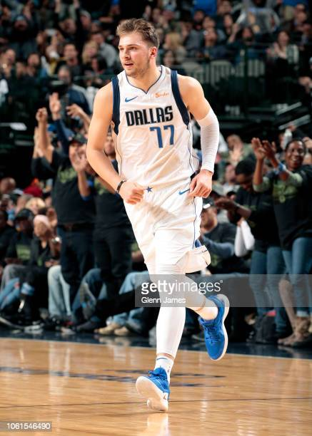 Luka Doncic of the Dallas Mavericks reacts to a play during the game against the Utah Jazz on November 14 2018 at the American Airlines Center in...