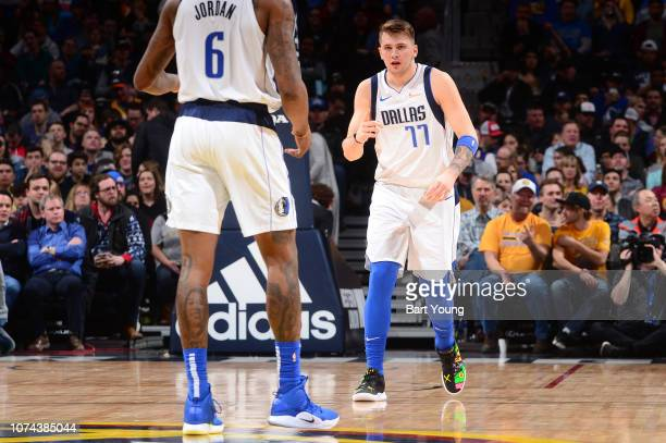 Luka Doncic of the Dallas Mavericks reacts to a play during the game against the Denver Nuggets on December 18 2018 at the Pepsi Center in Denver...