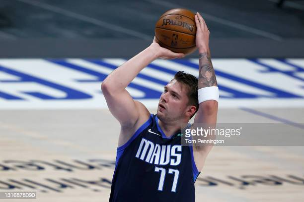 Luka Doncic of the Dallas Mavericks shoots a free throw against the Cleveland Cavaliers in the first quarter at American Airlines Center on May 07,...