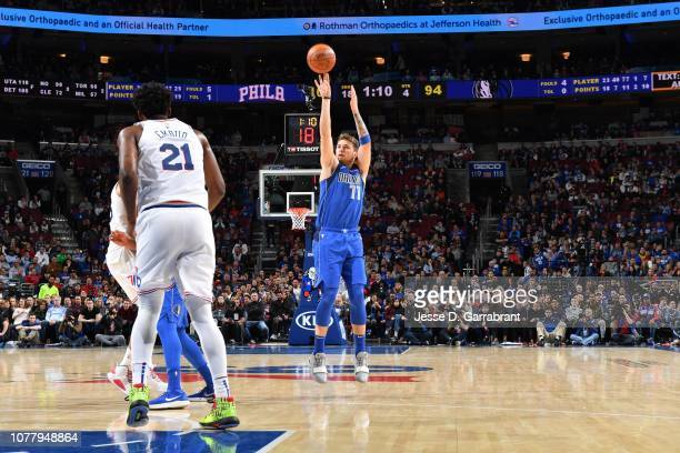 Luka Doncic of the Dallas Mavericks shoots a threepointer against the Philadelphia 76ers on January 5 2019 at the Wells Fargo Center in Philadelphia...