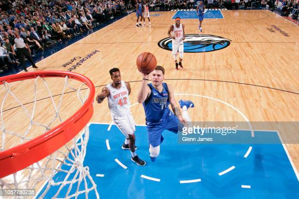 Luka Doncic of the Dallas Mavericks shoots the ball against the New York Knicks on November 2 2018 at the American Airlines Center in Dallas Texas...