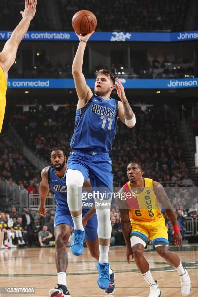 Luka Doncic of the Dallas Mavericks shoots the ball against the Milwaukee Bucks on January 21 2019 at the Fiserv Forum Center in Milwaukee Wisconsin...