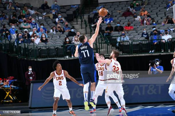 Luka Doncic of the Dallas Mavericks shoots the ball against the Cleveland Cavaliers on May 7, 2021 at the American Airlines Center in Dallas, Texas....