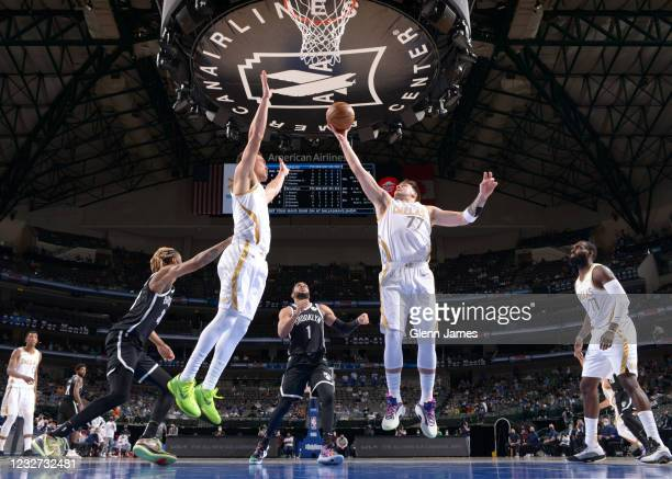 Luka Doncic of the Dallas Mavericks shoots the ball during the game against the Brooklyn Nets on May 6, 2021 at the American Airlines Center in...