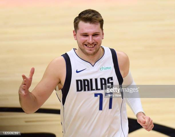 Luka Doncic of the Dallas Mavericks smiles after a 127-121 Dallas Mavericks win over the LA Clippers in game two of the Western Conference first...