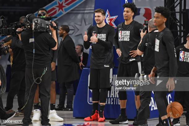Luka Doncic of the Dallas Mavericks smiles and gives the thumbs up during Rising Stars Media Availability and Practice as part of 2020 NBA AllStar...
