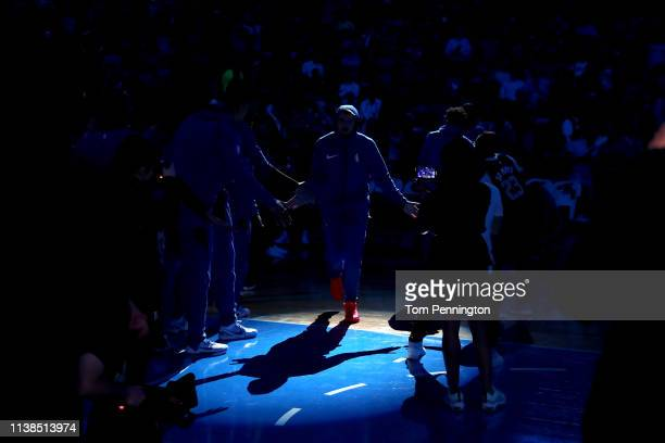 Luka Doncic of the Dallas Mavericks takes the court against the Sacramento Kings at American Airlines Center on March 26 2019 in Dallas Texas NOTE TO...